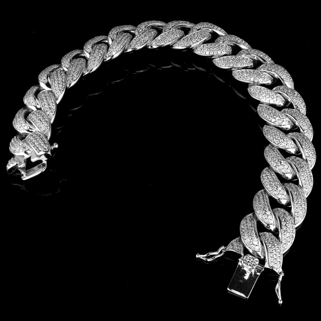 Diamond 3 Row Iced Cuban Link Bracelet in White Gold