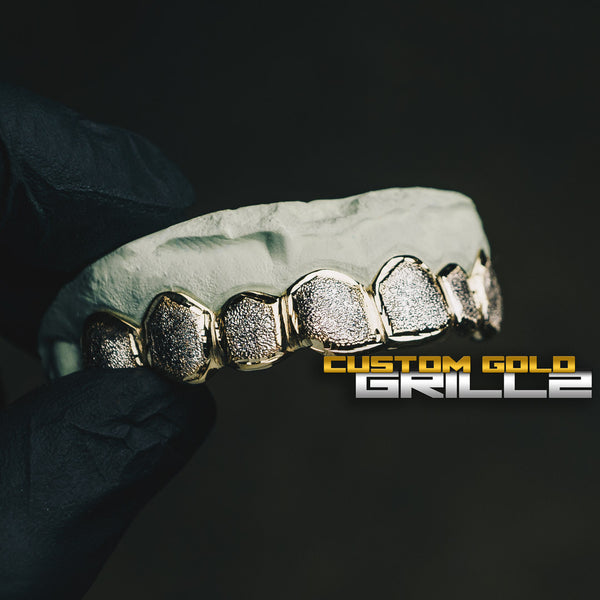 [CUSTOM-FIT] Solid Gold Two Tone Diamond Dust Grillz