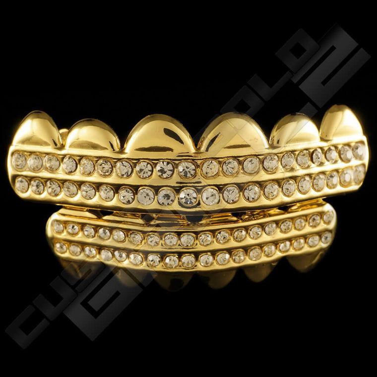 [PRE-MADE] Gold Plated 2 Row Iced Out Gold Grillz