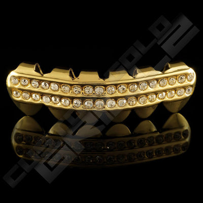 Gold Plated 2 Row Iced Out Gold Grillz Instantly-Made Bottom Front View