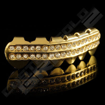 Gold Plated 2 Row Iced Out Gold Grillz Instantly-Made Bottom Side View