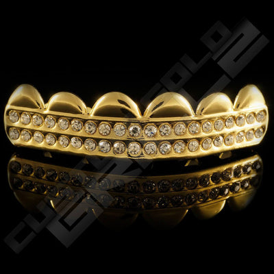 Gold Plated 2 Row Iced Out Gold Grillz Instantly-Made Top Front View