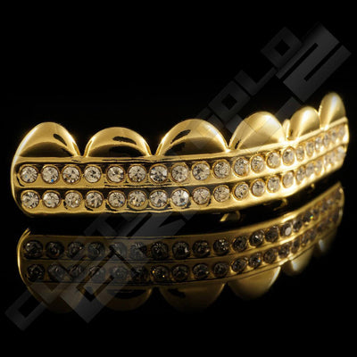 Gold Plated 2 Row Iced Out Gold Grillz Instantly-Made Top Side View