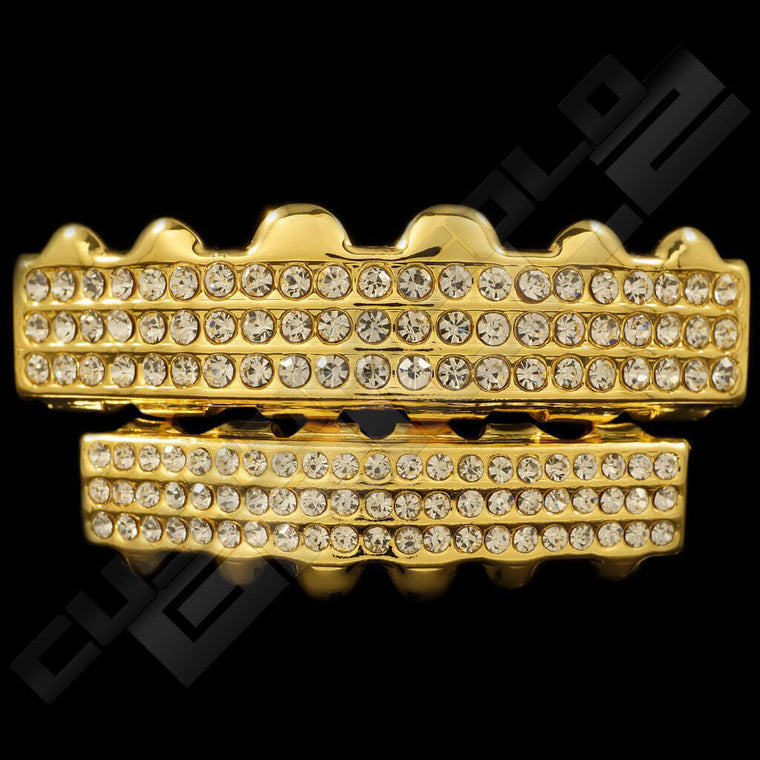 [PRE-MADE] Gold Plated 3 Row Iced Out Gold Grillz