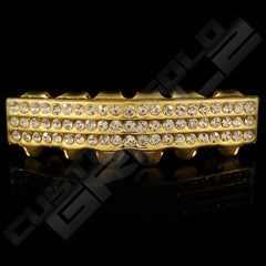Gold Plated 3 Row Iced Out Gold Grillz Instantly-Made Bottom Front View
