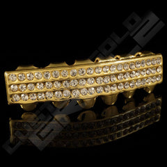 Gold Plated 3 Row Iced Out Gold Grillz Instantly-Made Bottom Side View