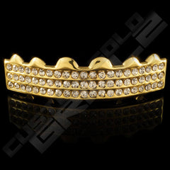 Gold Plated 3 Row Iced Out Gold Grillz Instantly-Made Top Front View