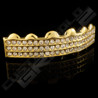 Gold Plated 3 Row Iced Out Gold Grillz Instantly-Made Top Side View