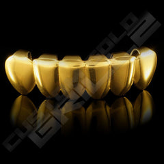 Gold Plated 6 Tooth Premium Grillz Instantly-Made Bottom Front View