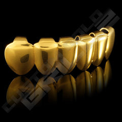 Gold Plated 6 Tooth Premium Grillz Instantly-Made Bottom Side View