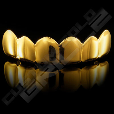 Gold Plated 6 Tooth Premium Grillz Instantly-Made Top Front View