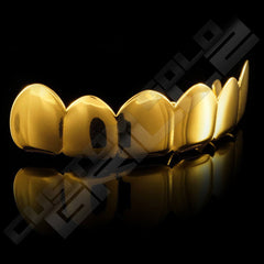 Gold Plated 6 Tooth Premium Grillz Instantly-Made Top Side View
