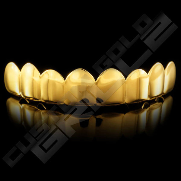 Gold Plated 8 Tooth Premium Grillz Instantly-Made Top Front View