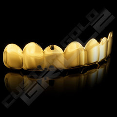 Gold Plated 8 Tooth Premium Grillz Instantly-Made Top Side View