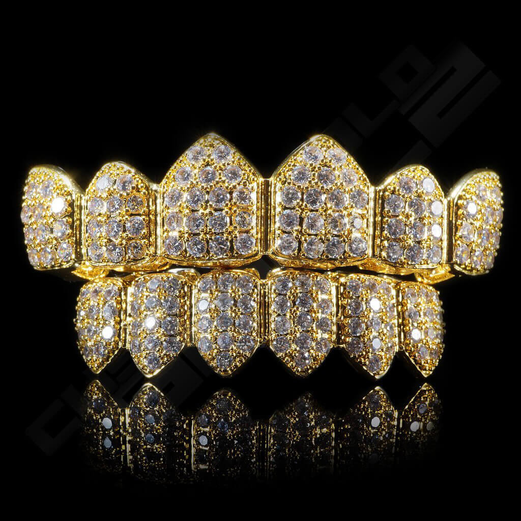Purchase gold plated cz cluster premium grillz on sale