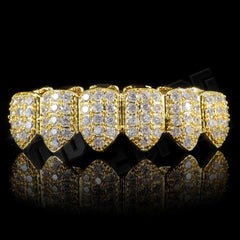 Gold Plated CZ Cluster Premium Grillz Instantly-Made Bottom Front View