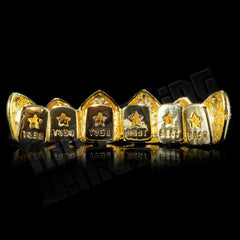 Gold Plated CZ Cluster Premium Grillz Instantly-Made Top Back View
