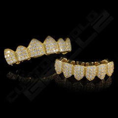 Gold Plated CZ Cluster Premium Grillz Instantly-Made Top and Bottom Front View