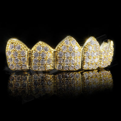 Gold Plated CZ Cluster Premium Grillz Instantly-Made Top Side View