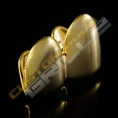 Gold Plated Double Top Tooth Grillz Instantly-Made Top Side View
