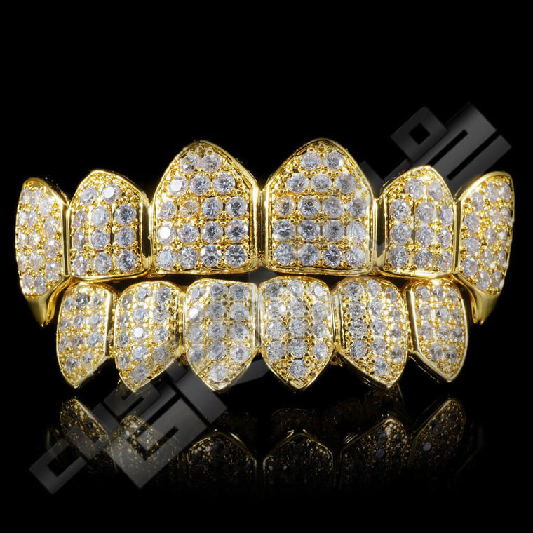 [PRE-MADE] Gold Plated Fanged CZ Cluster Premium Grillz