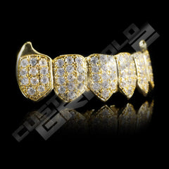 Gold Plated Fanged CZ Cluster Premium Grillz Instantly-Made Bottom Side View