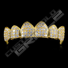 Gold Plated Fanged CZ Cluster Premium Grillz Instantly-Made Top Front View