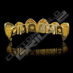 Gold Plated Fanged CZ Cluster Premium Grillz Instantly-Made Back View