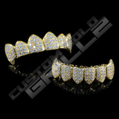 Gold Plated Fanged CZ Cluster Premium Grillz Instantly-Made Top and Bottom View