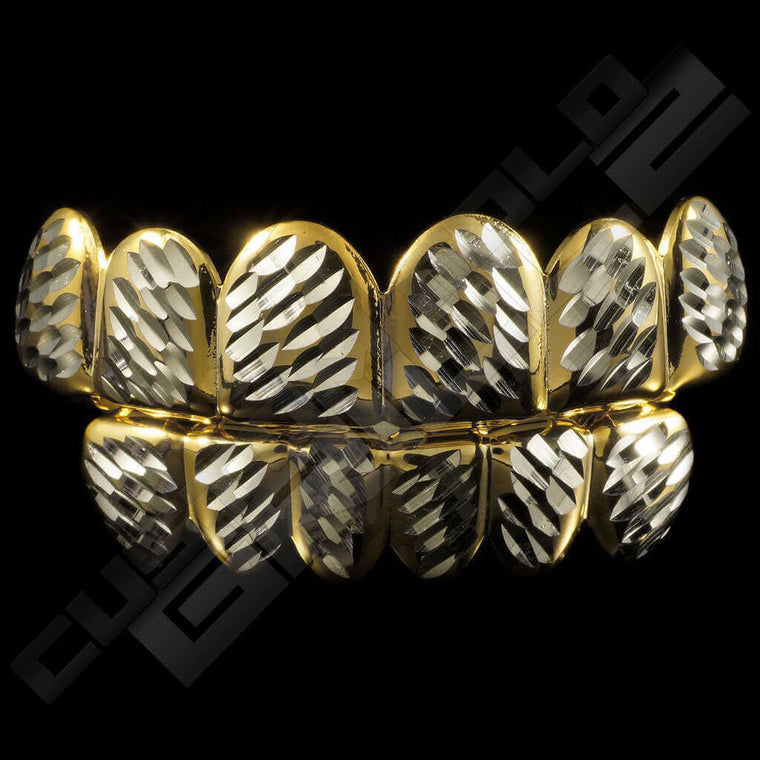 [PRE-MADE] Gold Plated Silver Diamond Cut Grillz