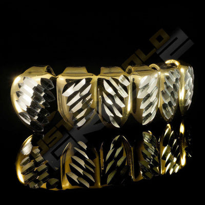 Gold Plated Silver Diamond Cut Grillz Instantly-Made Bottom Side View