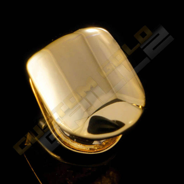 Gold Plated Single Top Tooth Grill Instantly-Made Top Side View