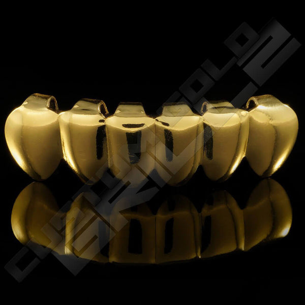 Gold Plated Vampire Fang Grillz Instantly-Made Bottom Front View