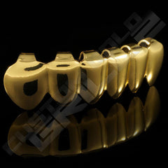 Gold Plated Vampire Fang Grillz Instantly-Made Bottom Side View