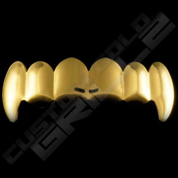 Gold Plated Vampire Fang Grillz Instantly-Made Top Front View