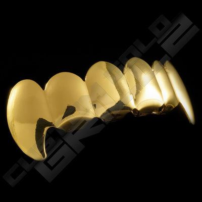 Gold Plated Vampire Fang Grillz Instantly-Made Top Side View