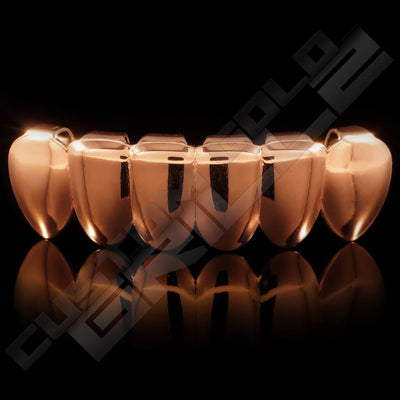 Rose Gold Plated 6 Tooth Premium Grillz Instantly-Made Bottom Front View
