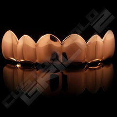 Rose Gold Plated 6 Tooth Premium Grillz Instantly-Made Top Front View