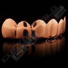 Rose Gold Plated 6 Tooth Premium Grillz Instantly-Made Top Side View