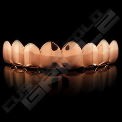 Rose Gold Plated 8 Tooth Premium Grillz Instantly-Made Top Front View