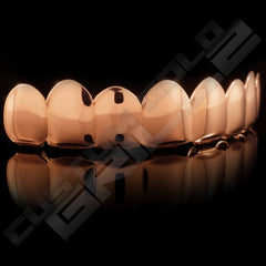 Rose Gold Plated 8 Tooth Premium Grillz Instantly-Made Top Side View