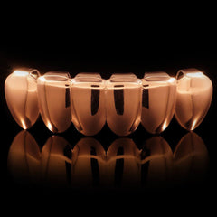 Rose Gold Plated Vampire Fang Grillz Instantly-Made Bottom Front View