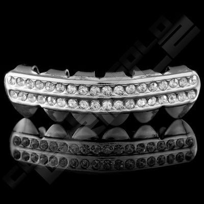Silver Plated 2 Row Iced Out Grillz Instantly-Made Bottom Front View