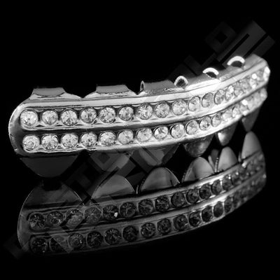 Silver Plated 2 Row Iced Out Grillz Instantly-Made Bottom Side View