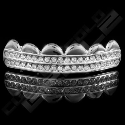 Silver Plated 2 Row Iced Out Grillz Instantly-Made Top Front View