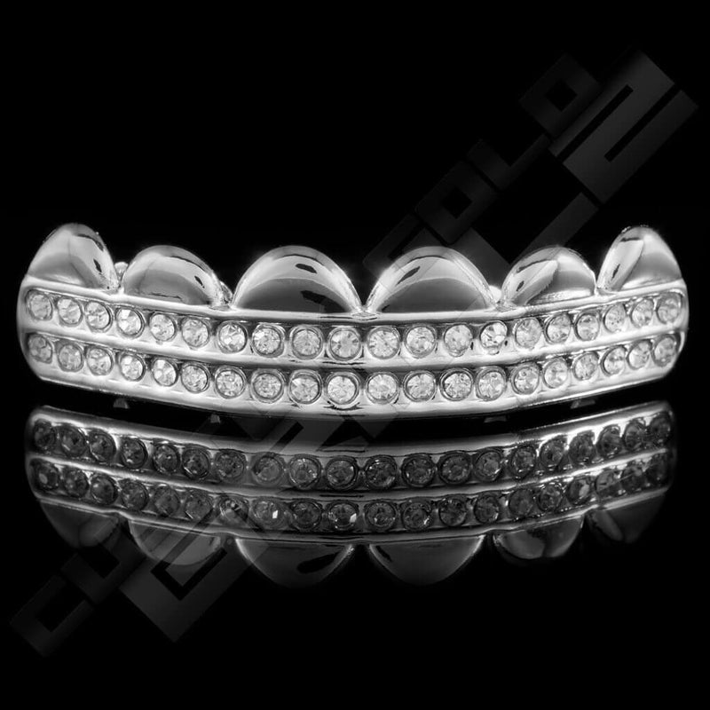 Silver Plated 2 Row Iced Out Grillz Instantly-Made Main