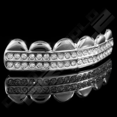 Silver Plated 2 Row Iced Out Grillz Instantly-Made Top Side View