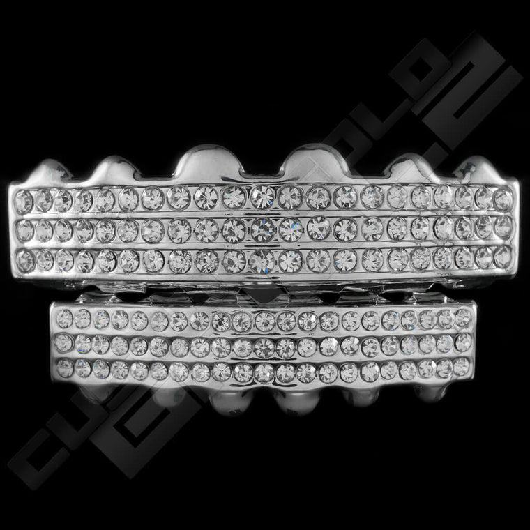 [PRE-MADE] Silver Plated 3 Row Iced Out Grillz