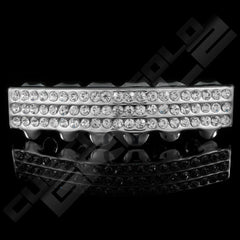 Silver Plated 3 Row Iced Out Grillz Instantly-Made Bottom Front View