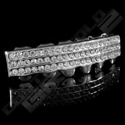 Silver Plated 3 Row Iced Out Grillz Instantly-Made Bottom Side View